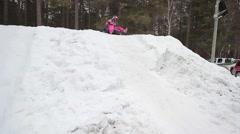 Kid winter tubing Stock Footage