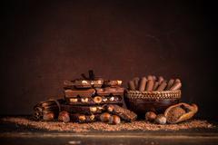 Still life with set of chocolates - stock photo