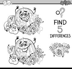 game of differences coloring book - stock illustration