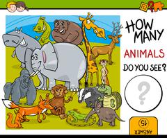 counting animals educational task - stock illustration