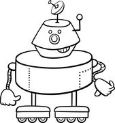 Stock Illustration of robot character coloring book
