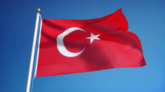 Turkey flag in slow motion seamlessly looped with alpha Stock Footage