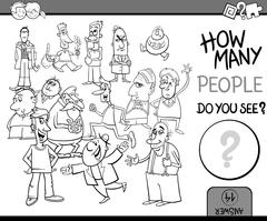 count people task coloring book - stock illustration