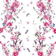Watercolor seamless background with pink blooming branches - stock illustration