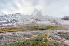 Geothermal Vents Geysir Iceland Stock Photos