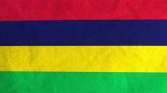 Mauritian flag waving in the wind (full frame footage) Stock Footage