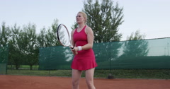 4K Medium Shot Of Female Tennis Player Hitting Two Handed Backhand - stock footage
