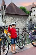 Sweet portrait of preschool boy in the town of Annecy, France, springtime Stock Photos