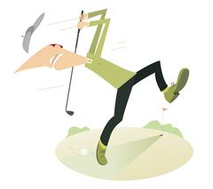 Angry golfer playing golf Stock Illustration