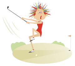 Comic cartoon women is playing golf Stock Illustration