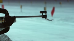 Biathlon. The shots from a rifle. Close-up of the muzzle of a rifle  Stock Footage