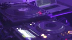 Night club audio equipment. Dj playing music. Relaxation atmosphere. Hobby Stock Footage