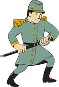 Confederate Army Soldier Drawing Sword Cartoon - stock illustration