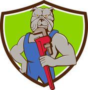 Bulldog Plumber Monkey Wrench Crest Cartoon - stock illustration