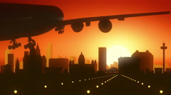 Liverpool Airplane Landing Golden Sunset Stock Footage