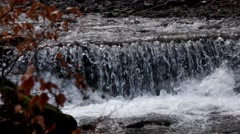 Mountain River Waterfall in Spring Forest. Stock Footage