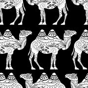 Seamless pattern with camel silhouette - stock illustration
