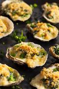 Homemade Creamy Oysters Rockefeller Stock Photos