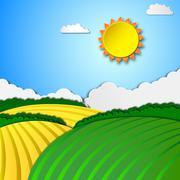 Sunny rural landscape - stock illustration