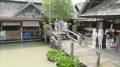 Colorful Scenic old Floating Market,Canoe,Bangkok  Thailand  4K Stock Footage