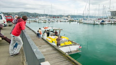 Wellington NZ Local Fishermen Selling at Clyde Quay Wharf Stock Footage