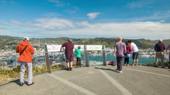 Wellington NZ Tourists Visiting Mount Victoria Lookout Stock Footage