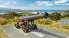 Wellington NZ Old Canon on Mount Victoria Stock Footage