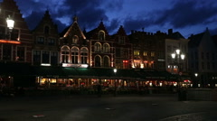Market square in Bruges by night, Belgium Stock Footage