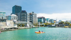Wellington NZ Waterfront Recreation in City Center Stock Footage