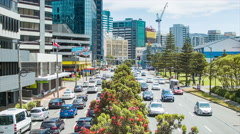 Wellington NZ View Over Jervois Quay Street Traffic Stock Footage