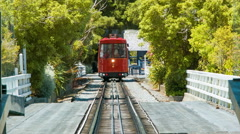 Wellington NZ Cable Car Front View Going Up the Track Stock Footage