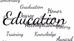 Background seamless loop of education words with alpha matte Stock Footage