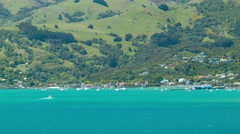 Akaroa NZ Town View from the Harbour Water Stock Footage