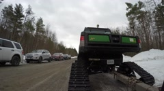 4k tracked snow utility vehicle driving Stock Footage