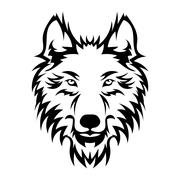 Beautiful wolf tattoo.Vector wolf's head as a design element Stock Illustration