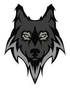 Beautiful wolf tattoo.Vector wolf's head as a design element - stock illustration