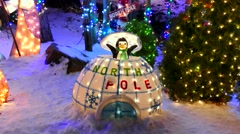 Christmas lights snow, North Pole Penguin display Stock Footage