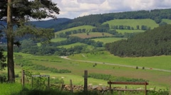 Rural view over the central Scottish Borders Stock Footage