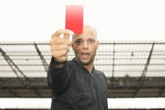 Referee giving red card Stock Photos