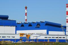 Big plant for processing scrap metal - stock photo