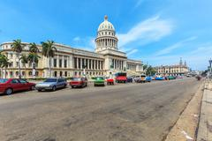 The Capitol building and heavy traffic of city center,  Havana - stock photo