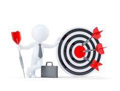 Businessman hold big archery target. - stock illustration