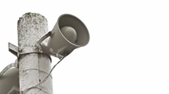 column loudspeaker pole megaphone on white background - stock footage