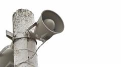 Stock Video Footage of column loudspeaker pole megaphone on white background