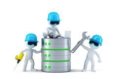 Group of technicians with data base. Technology concept - stock illustration