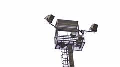 Spotlight light watchtower on sky background Stock Footage