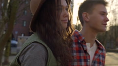 Closeup Of Happy Couple, Very In Love, As They Walk Downtown Stock Footage