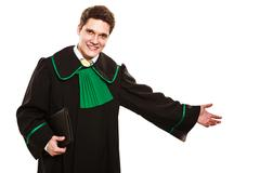 Lawyer hold case make inviting gesture. Stock Photos