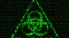 Biohazard Sign - Digital Data Code Matrix - stock footage