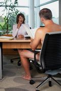 Imagining the interviewer naked - stock photo